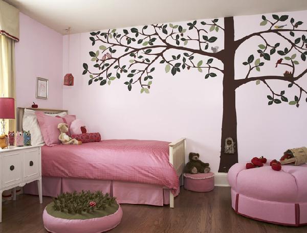 Chambre rose et nature