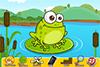 Joue avec une grenouille