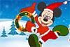 Mickey déguisé en père-Noël