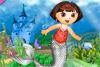 Dora déguisée en sirène