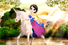 Cavalière chevauchant une licorne