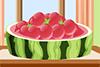 Dessert avec des boules de pastèques